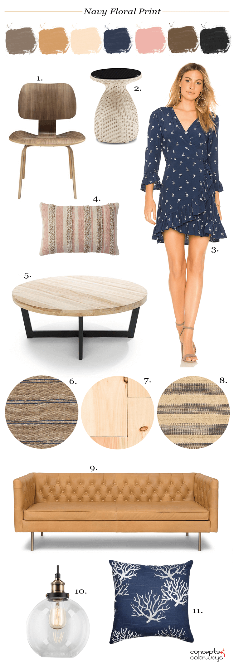 navy floral pillow, navy floral dress, navy striped rug, jute rug, natural fiber rug, nautical living room, modern living room, glass globe pendant light, tan leather sofa, pine flooring, round coffee table, blush pink pillows, eames style chair, woven side table, pantone sailor blue