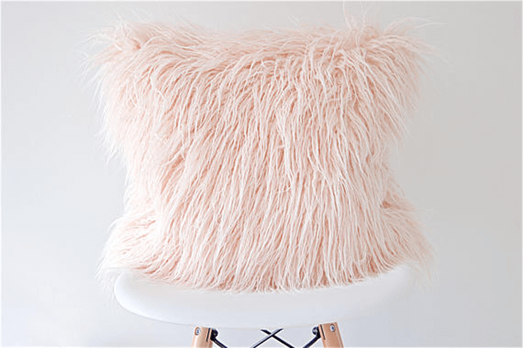 pink sheep skin, sheepskin pillow, faux fur pillows, fur pillows, mongolian fur pillows, pink pillows, blush throw pillows