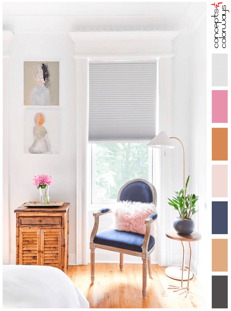 hot pink, blush pink, light gray, white walls, copper orange, navy blue, honey oak, charcoal grey, pink and navy, pantone sailor blue