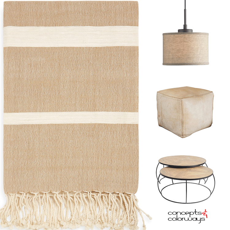 pantone warm sand, beige decor, tan decor, tan pouf, beige pouf, beige coffee table, tan coffee table, tan throw, beige throw, tan pendant light, beige pendant light