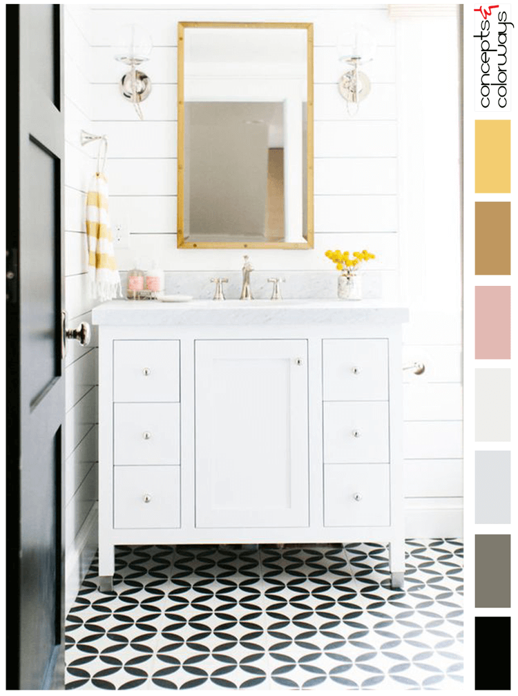 Pink And Yellow Black White Bathroom Bright