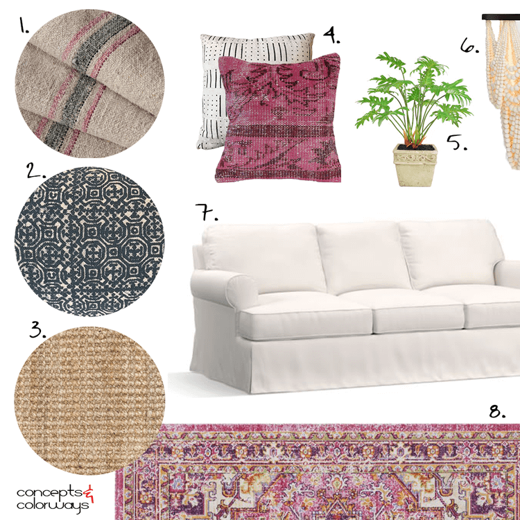 cozy living room, white walls, white curtains, white sheer curtains, white slipcovers, sofa slipcovers, white sofa, kilim pillows, berry pink, mudcloth pillow, black and white, beaded chandelier, ivory, pink flowers, green plants, jute rug, indigo batik, grain sack fabric, pink persian rug, pantone warm sand