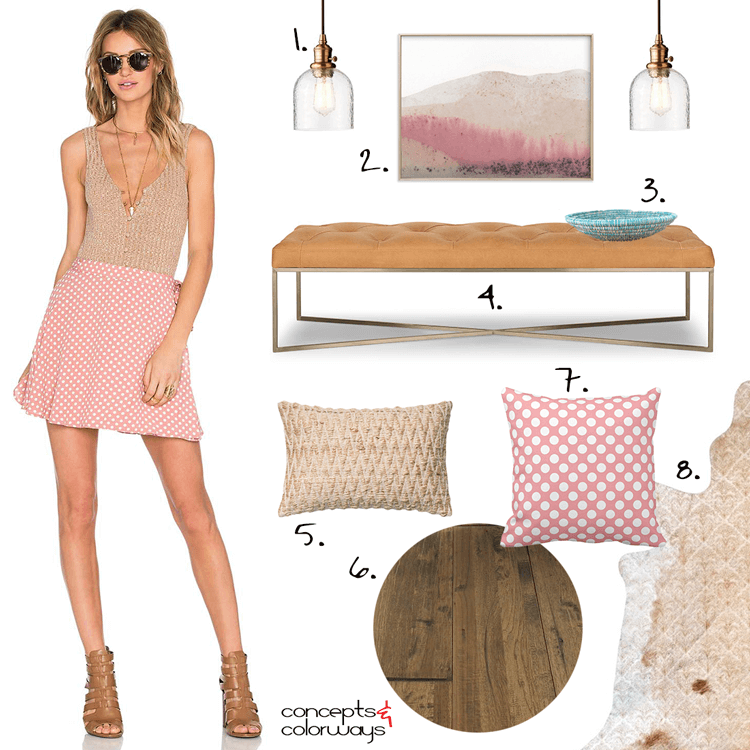 A MODERN FOYER DESIGN INSPIRED BY A PINK POLKA DOT SKIRT