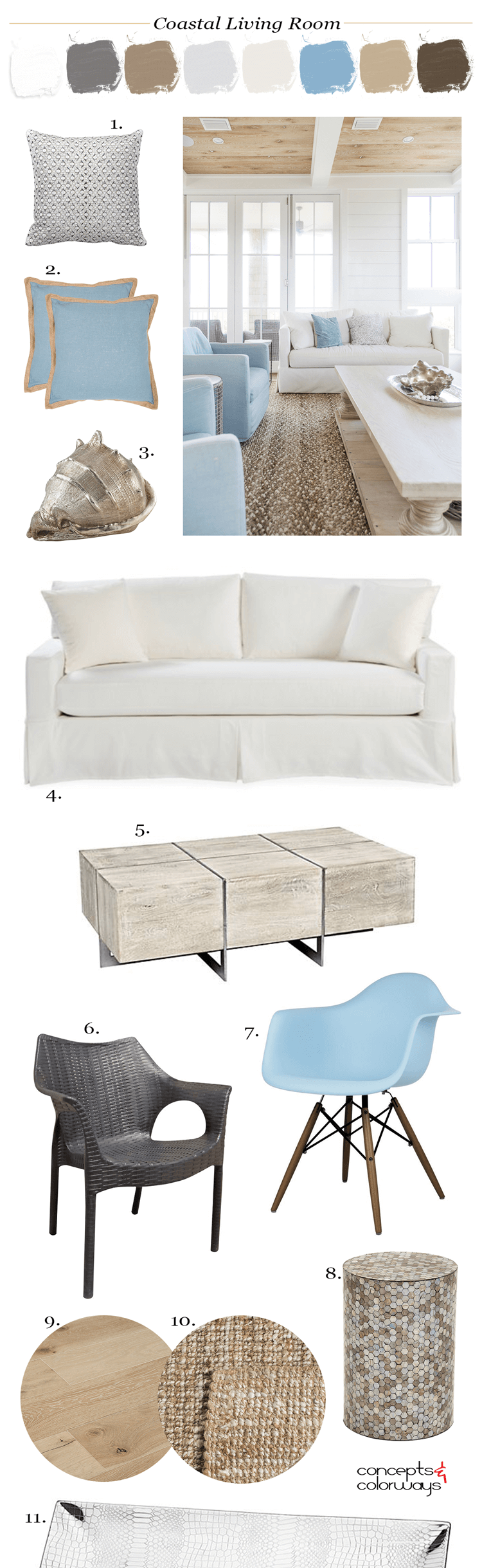 A Tan And Blue Color Palette For Coastal Living Rooms