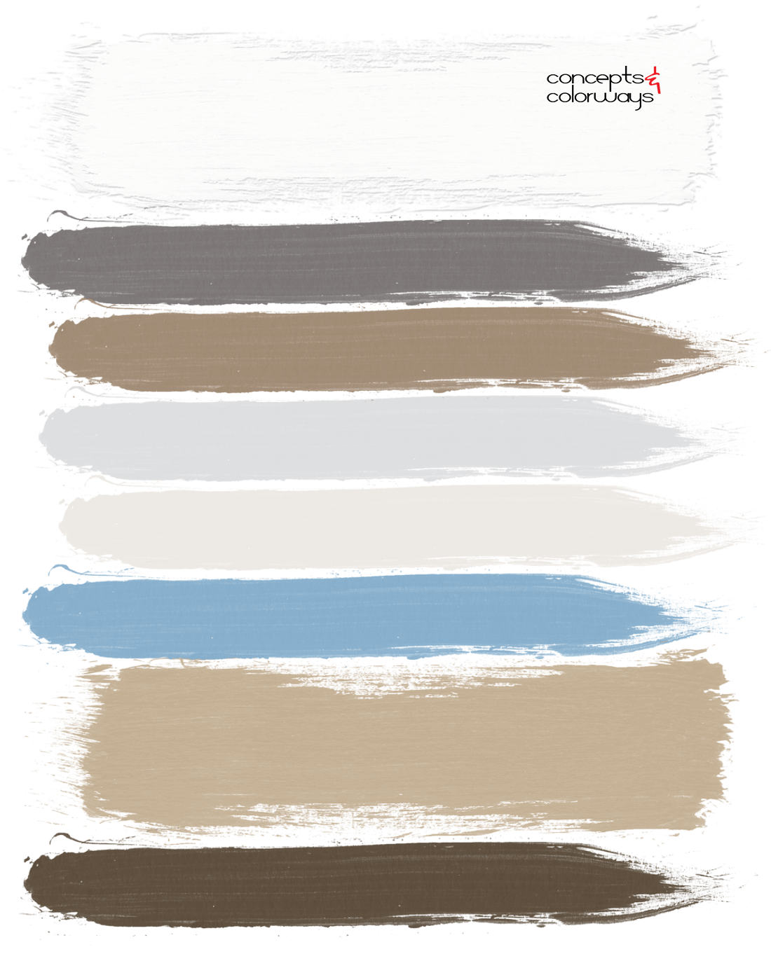 coastal casual, paint palette, ivory, warm brown, light brown, warm sand, light tan, light gray, dark bronze, sky blue, pale blue, light blue, tan and blue
