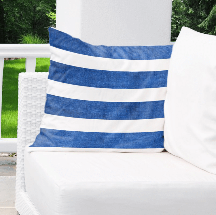 royal blue and white striped pillow