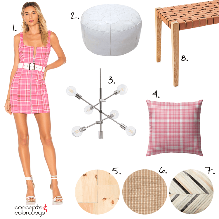 tan leather, pink plaid, hot pink decor, pink room decor, pink and tan, pink plaid dress, plaid dress, pink plaid pillow, maple flooring, tan rug, cowhide pillows, white leather pouf, woven leather bench, modern chandeliers, interior design ideas, pantone rapture rose
