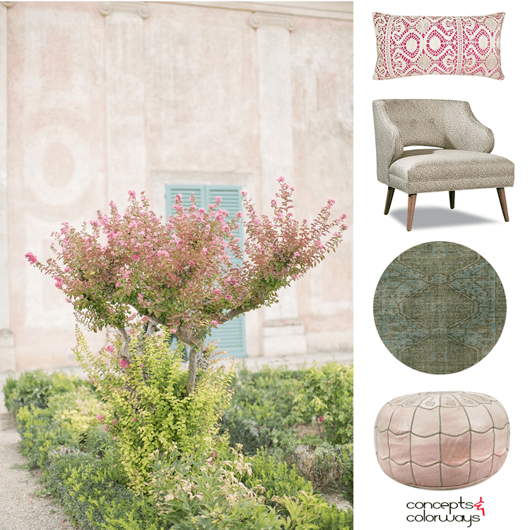 bubblegum pink, pink and green, blush pink, blush pink walls, aqua blue, turquoise blue, sage green, dark green, pretty color palettes, feminine color palette, color palette, pink blooms, blooming garden, pink pillows, blush pink pouf, turquoise and green rug, pink blossom tree