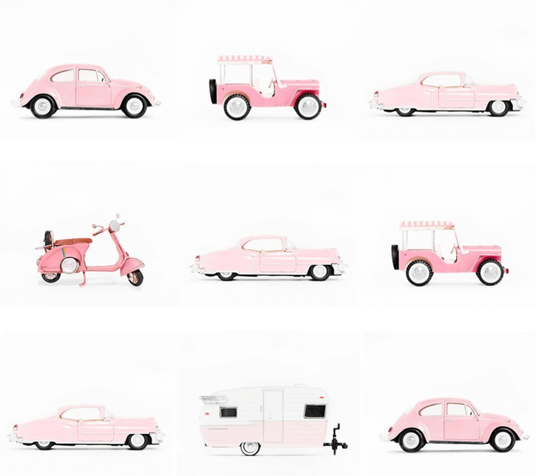 PINK MATCHBOX CARS ART PRINTS