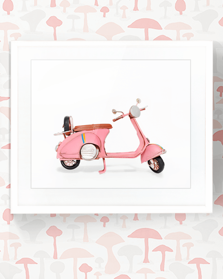 pink scooter, pink room decor, pink home decor, little girls room, girls bedroom ideas, girls bedroom, girls room ideas, girls room decor, matchbox cars, vintage matchbox cars, pink matchbox cars, kids wall art