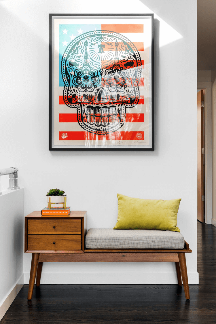 mid century modern, mid century modern furniture, skull wall art, american flag wall art, chartreuse pillow