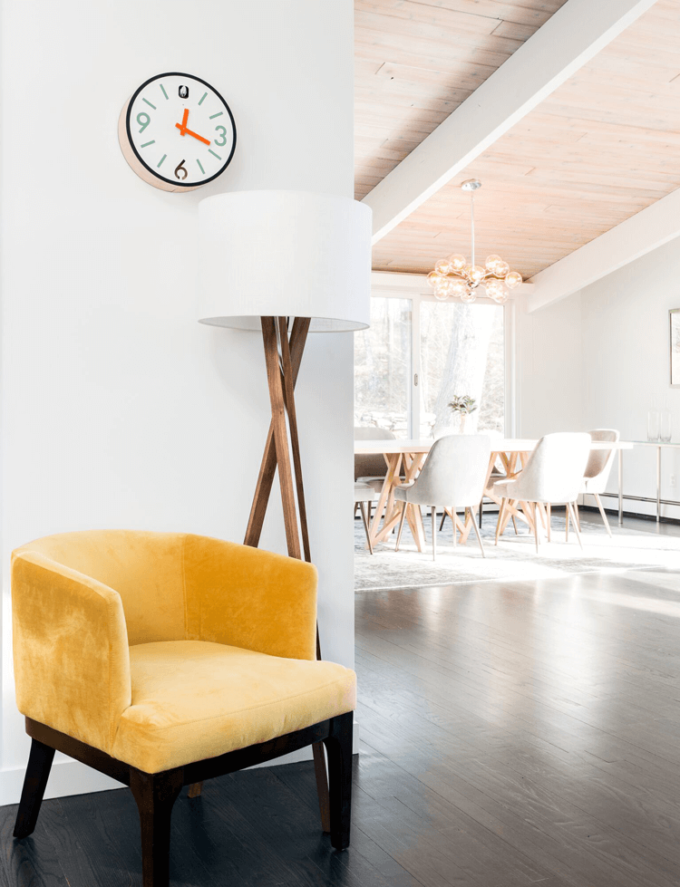 yellow chair, retro chair, mid century modern
