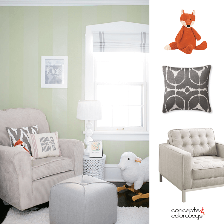 A MODERN NURSERY WITH SAGE GREEN PAINT AND WHITE TRIM