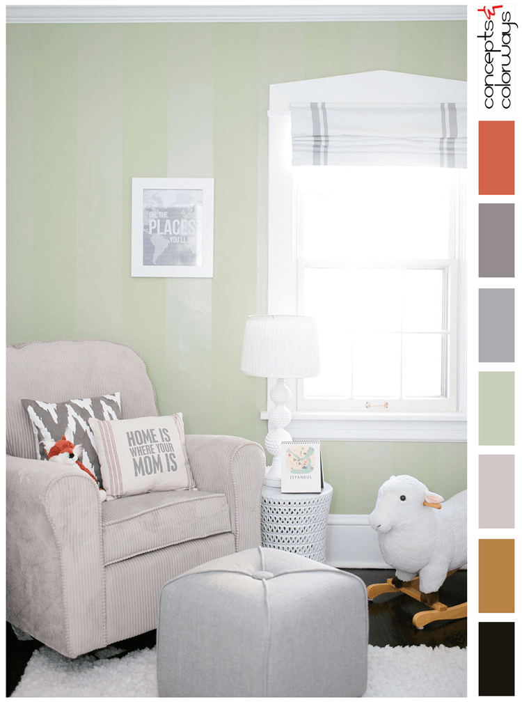 light taupe, burnt orange, warm gray, dove gray, copper brown, black, black and white, modern nursery, sage green paint, color palette, nursery design ideas, pantone nile green