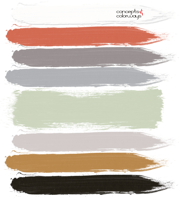 light taupe, burnt orange, warm gray, dove gray, sage green, copper brown, black, black and white, modern nursery, pantone nile green