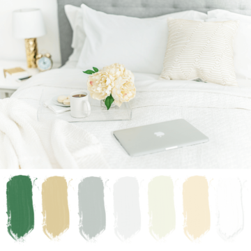 gold, green, gray, white, color palette, bedroom color scheme, luxe bedroom