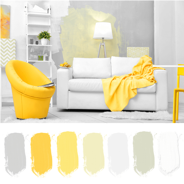 gray white and bright yellow living room