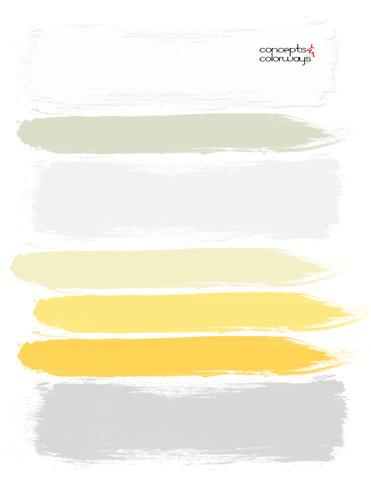 gray white and bright yellow interior paint palette