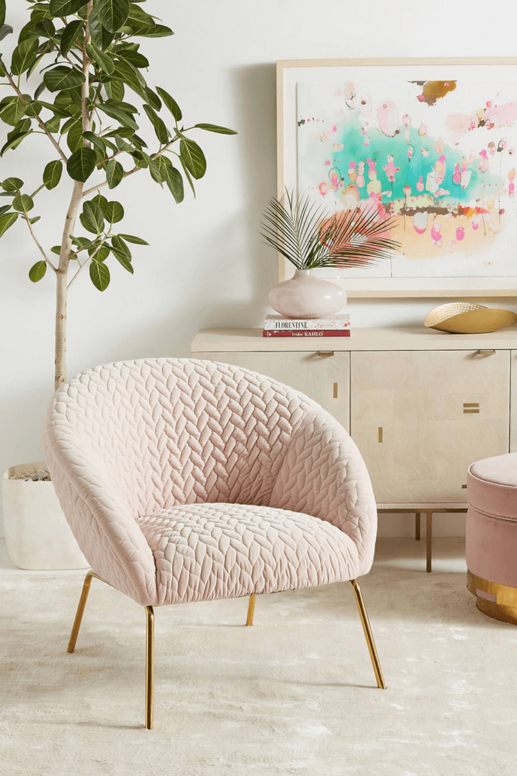 blush pink decor, blush pink chair, gold legs, retro style chair