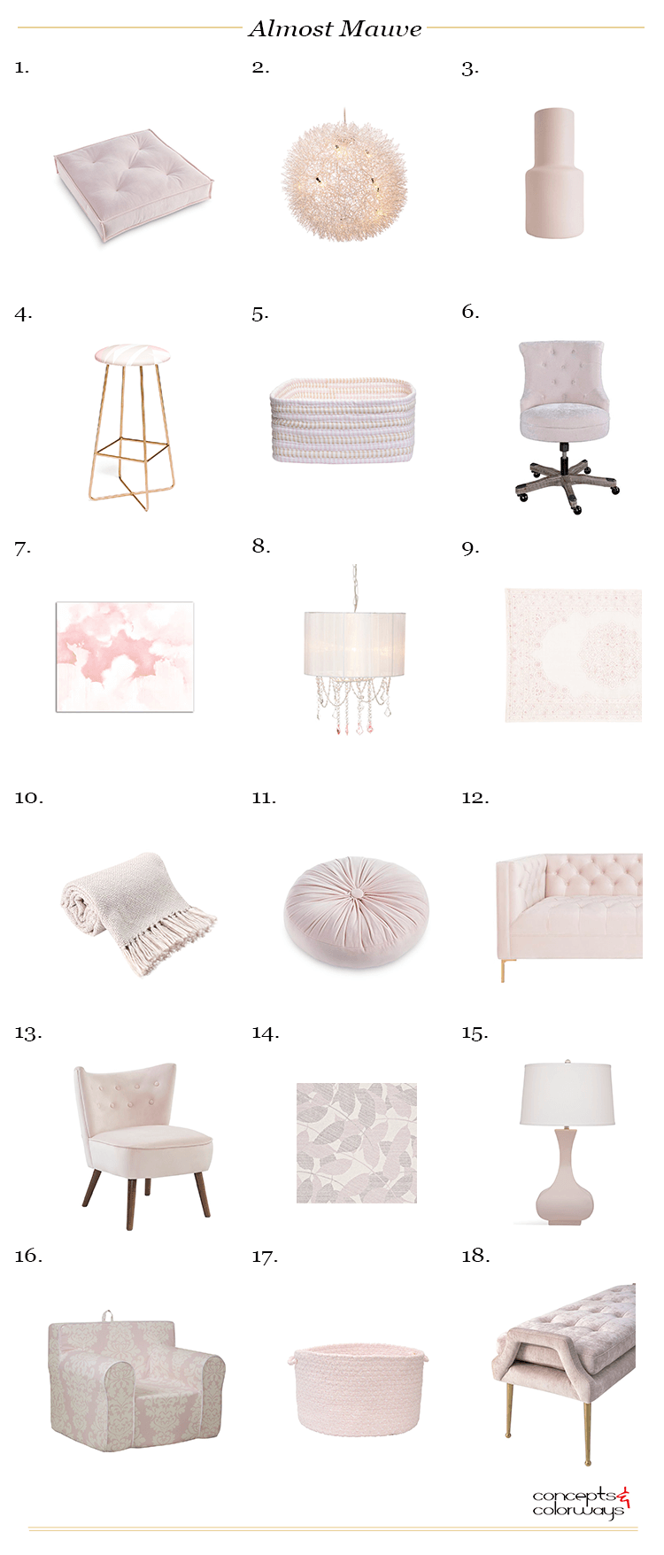 pantone almost mauve, blush pink, blush pink decor, blush pink chair, blush pink sofa, blush pink rug, pale pink, light mauve, interior color trends, light pink