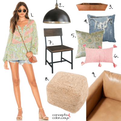 CASUAL LIVING IDEAS WITH SAGE GREEN, CORAL PINK AND DISTRESSED DENIM ACCENTS