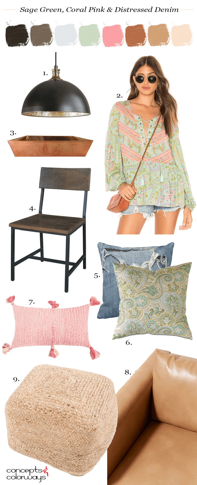 casual living, pink and green, sage green, sage green decor, coral pink, distressed denim, bronze pendant light, copper serving tray, dark wood, paisley pillows, tassel pillow, denim pillows, tan leather sofa, natural fiber pouf, sage green blouse with pink accents, distressed denim cut off shorts
