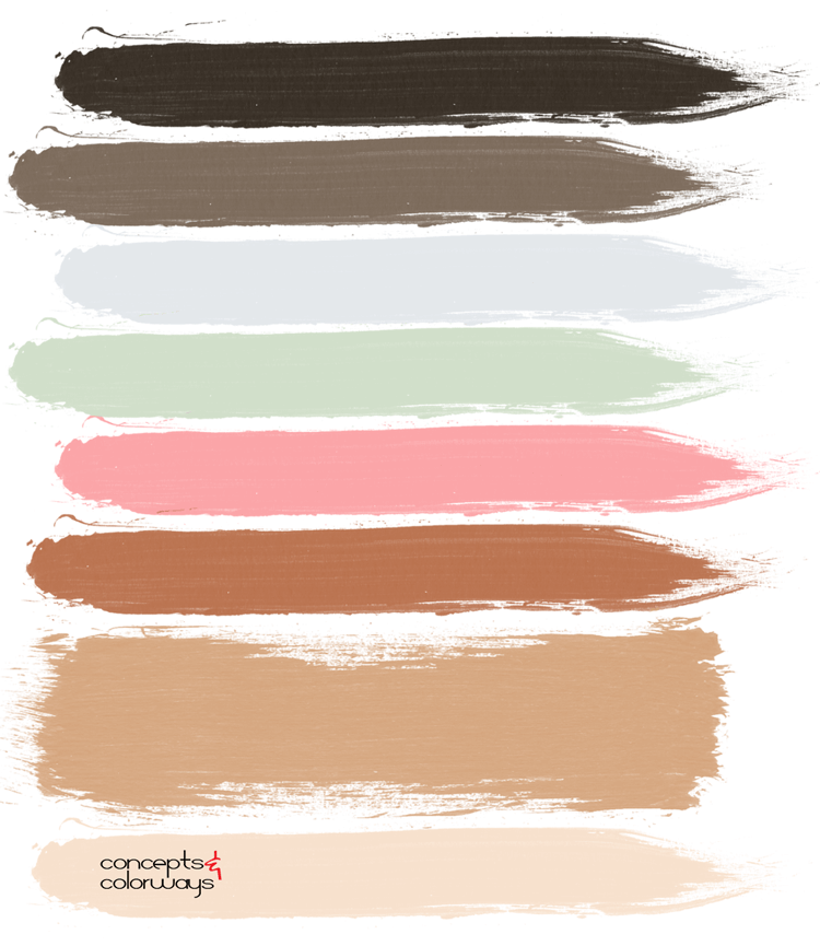 casual living, paint palette, sage green, coral pink, distressed denim, faded blue, pink and green, bronze, copper, light beige, tan