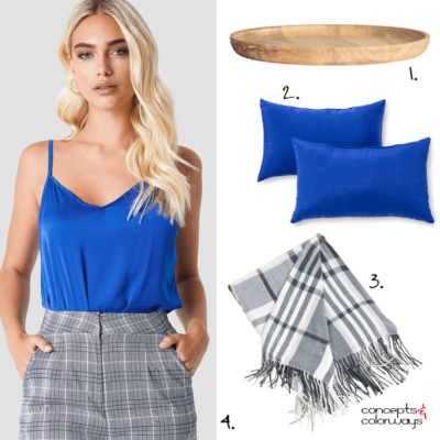 cobalt blue, plaid pattern, natural wood, blue throw pillows, plaid throw, plaid blanket, plaid throw blanket, wooden tray, plaid pants, blue and gray, cobalt blue top, pantone palace blue
