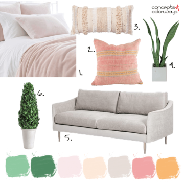 taupe sofa, indoor plants, blush pink blanket, pink blanket, blush pink bedding, topiary, kilim pillows, pink kilim pillow, peach pillow, pink bedroom, peach and green