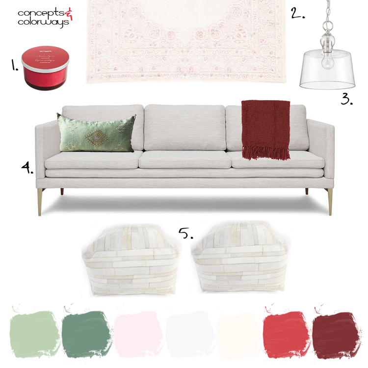 red and green, white living room, burgundy throw, mint green pillows, clear glass pendant light, blush pink rug, pink rug, red candles, modern sofa, ivory fabric, square pouf, pink and red, ivory, mint green, sage green, light pink, burgundy, dark red, faded red, warm white, pantone spiced apple, pantone nile green