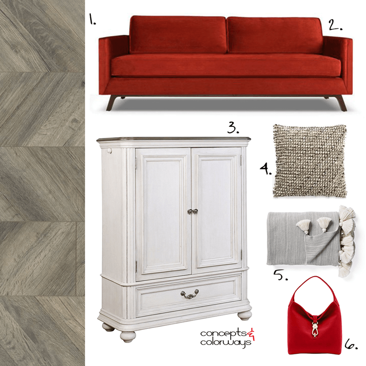 red sofa, red courch, french chateau, chevron wood floor, herringbone wood floor, grey hardwood floors, gray hardwood floors, textured pillows, tassel throw blanket, armoire, red handbags, pantone chili oil, bright red, antigue ivory, warm gray