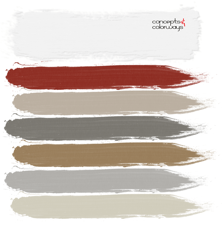 french chateau, bright red, warm gray, grunge gray, light brown, ivory, antique white, pantone chili oil