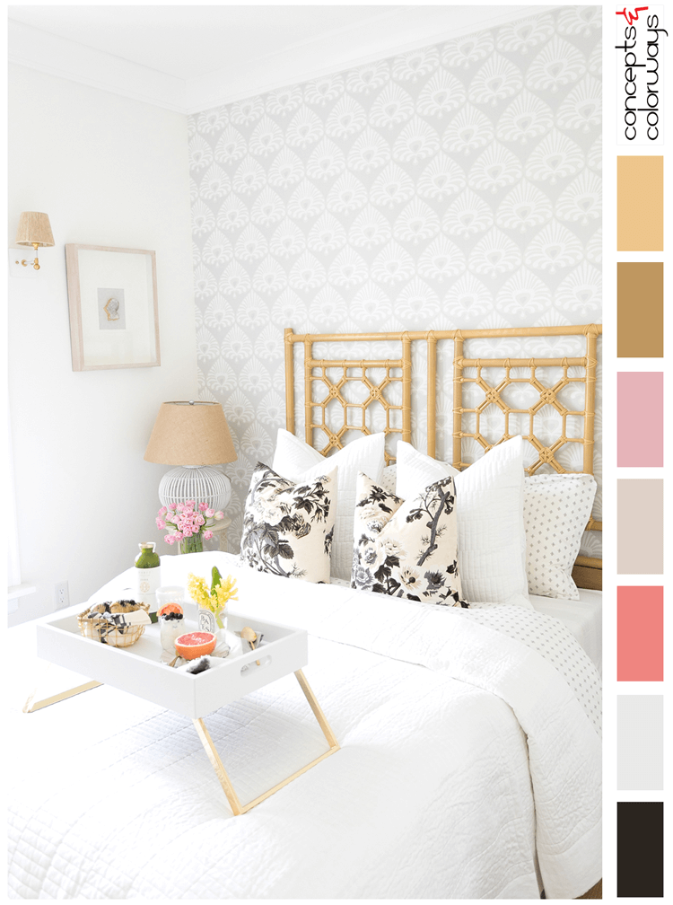 pink and gold, grey and white, black and white floral print, blush pink, light taupe, gold decor, gold accents, pink grapefruit, white serving tray, rattan bed, black and white pillows, wicker lamp shades, damask wallpaper, white table lamp, pink tulips, clear glass vases, guest bedroom