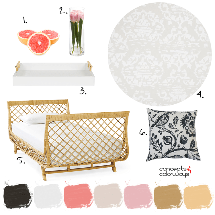 pink and gold, rattan bed, black and white pillows, black and white floral pillow, pink grapefruit, white serving tray, gold handles, damask wallpaper, pink tulips, clear glass vases, guest bedroom, blush pink, light taupe, grey and white, black and white floral print, gold decor, gold accents