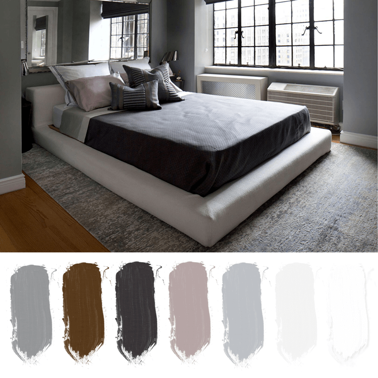 gray bedroom, bedroom color palettes
