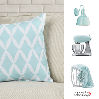 a tranquil turquoise interior design color card